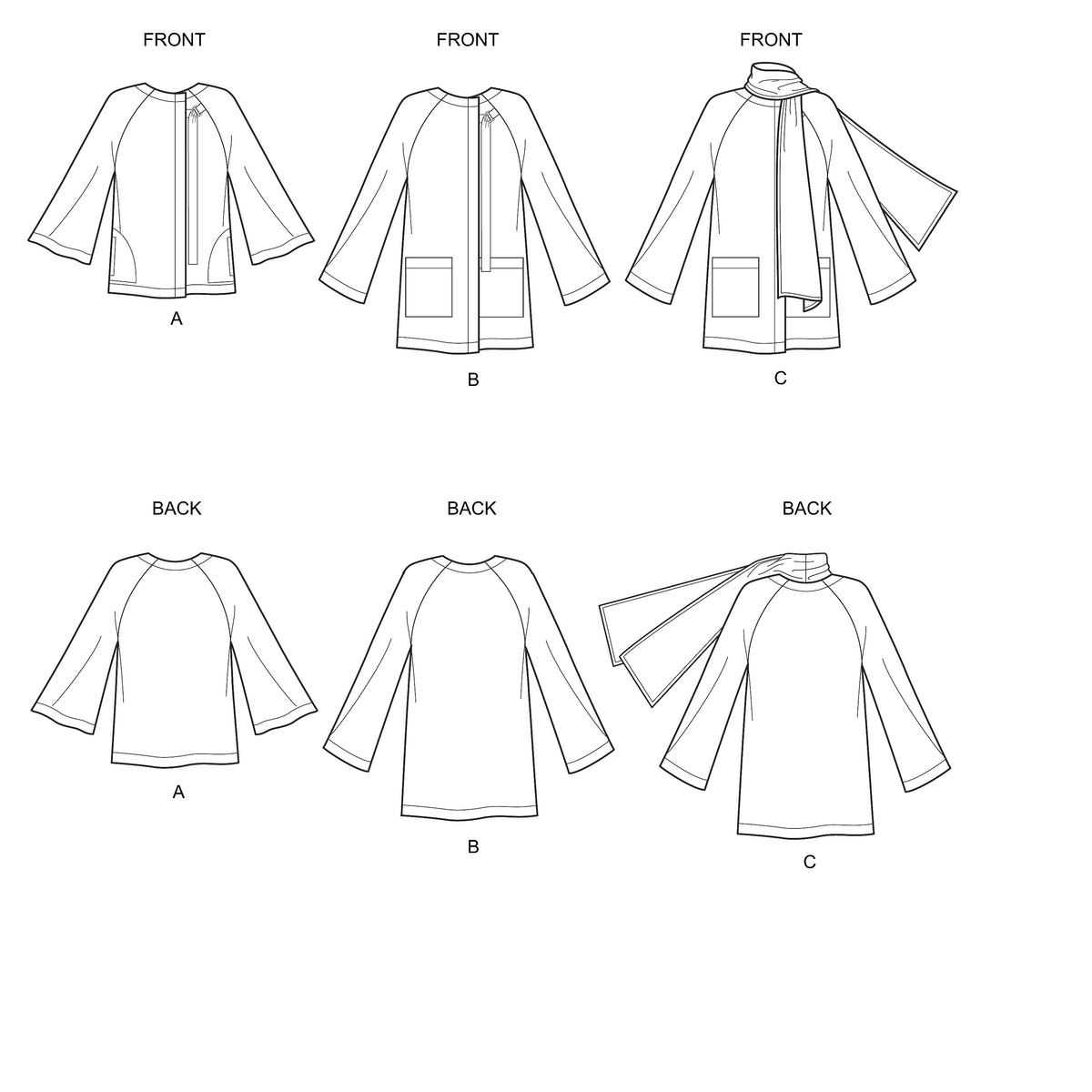 6639 New Look Sewing Pattern N6639 Misses' Poncho and Jackets