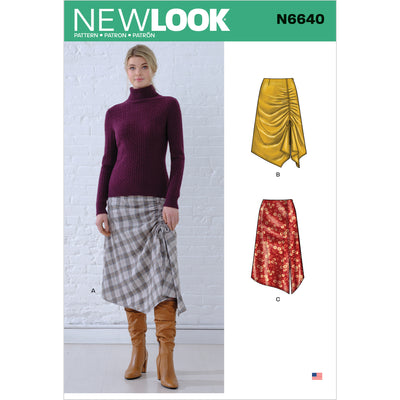 6640 New Look Sewing Pattern N6640 Misses' Asymmetrical Skirts