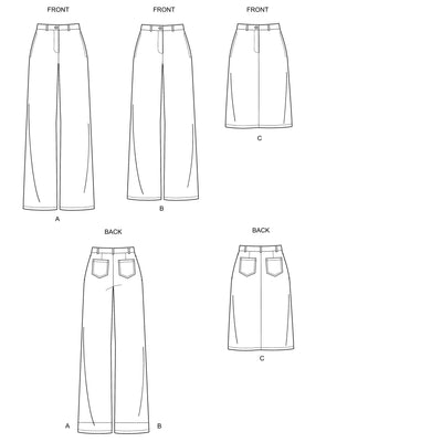 6643 New Look Sewing Pattern N6643 Misses' Wide Leg Pants and Skirt