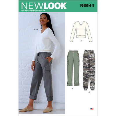 6644 New Look Sewing Pattern N6644 Misses' Cargo Pants and Knit Top