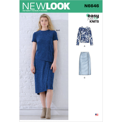 6646 New Look Sewing Pattern N6646 Misses' Knit Tops and Skirts