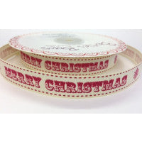 Merry Christmas Printed Ribbon - Red 16mm