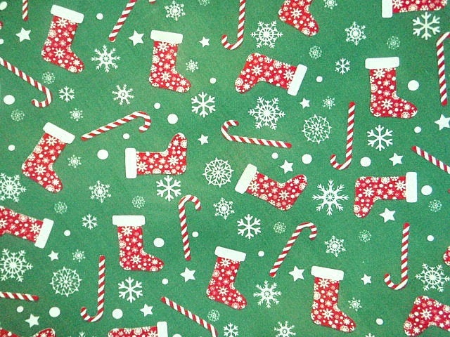 Christmas Candy Stocking - Poly/Cotton Print