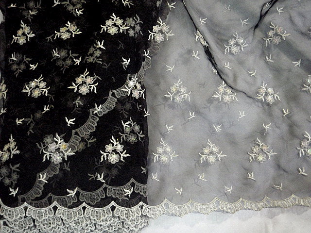 Black/Ivory - Clearance Embroidered Organza