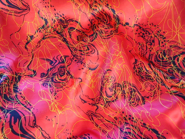 Coral Art Silk Printed Satin