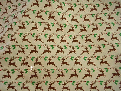 Cream Christmas Reindeer - Cotton Poplin Patchwork
