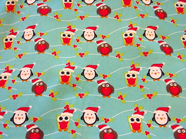 Cute Christmas Robins - Cotton Poplin Patchwork