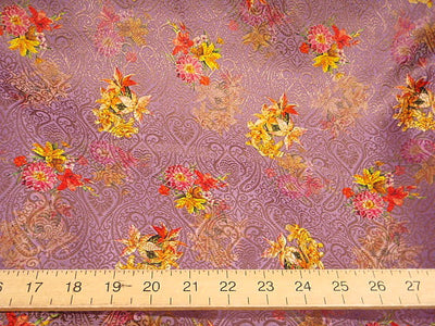 Violet Floral - Digital Printed Brocade