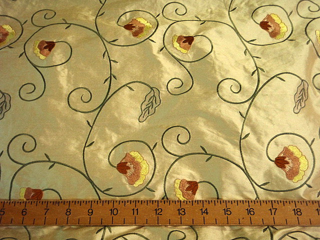 Floral Scroll - Embroidered Silk Dupion