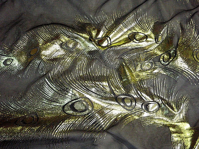 Peacock Feather - Foil Metal Chiffon
