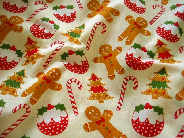 Christmas Gingerbread & Puddings - Poly/Cotton Print
