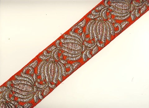 Red Metallic Woven Trim