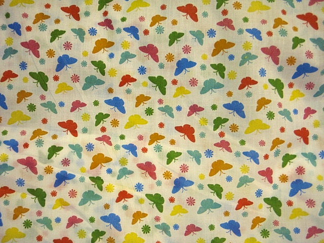 Multi Coloured Butterfly Polycotton Print