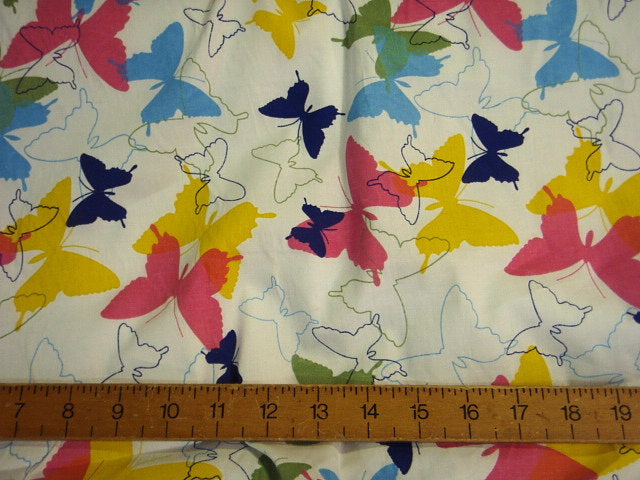 Multi-Colour Butterflies - Stretch Poplin