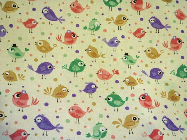 Multi Coloured Robins - Poly/Cotton Print