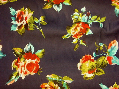 Navy Rose Floral - Stretch Cotton