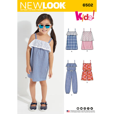 6502 New Look Pattern 6502 Child's Jumpsuit, Romper and Dresses