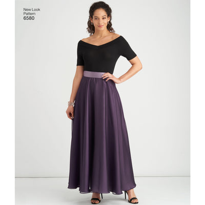 6580 New Look Pattern 6580 Misses' Circle Skirt