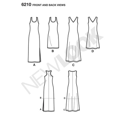 6210 Misses' Knit Dress in Two Lengths