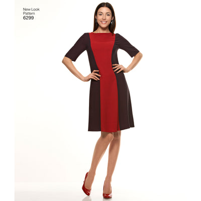 6299 Misses' Dress with Neckline & Sleeve Variations