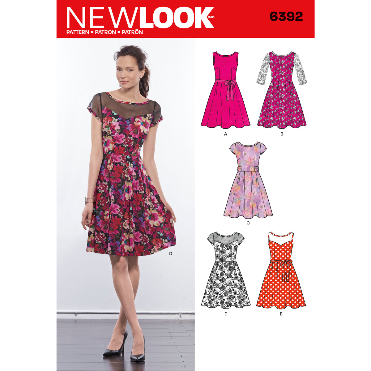 6392 Misses' Dresses with Contrast Fabric Options