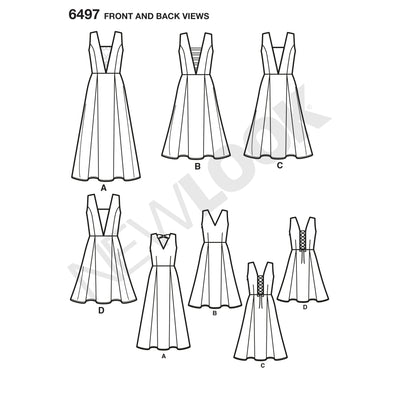 6497 New Look Pattern 6497 Misses Dress with Bodice and Length Variations
