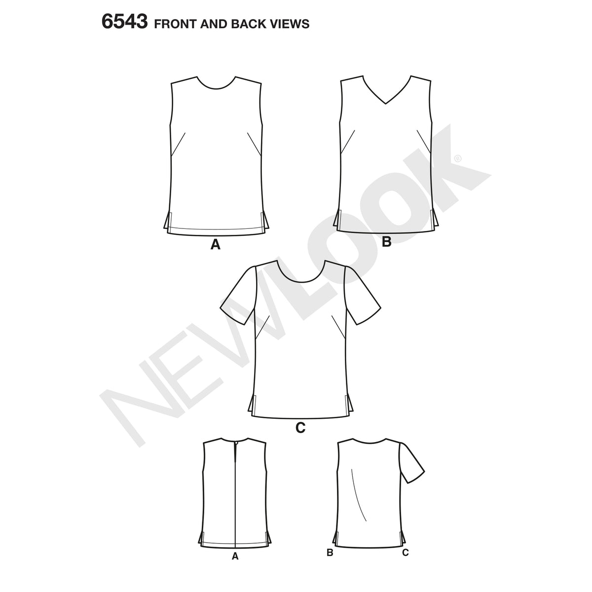 6543 New Look Pattern 6543 Misses' Easy Tops