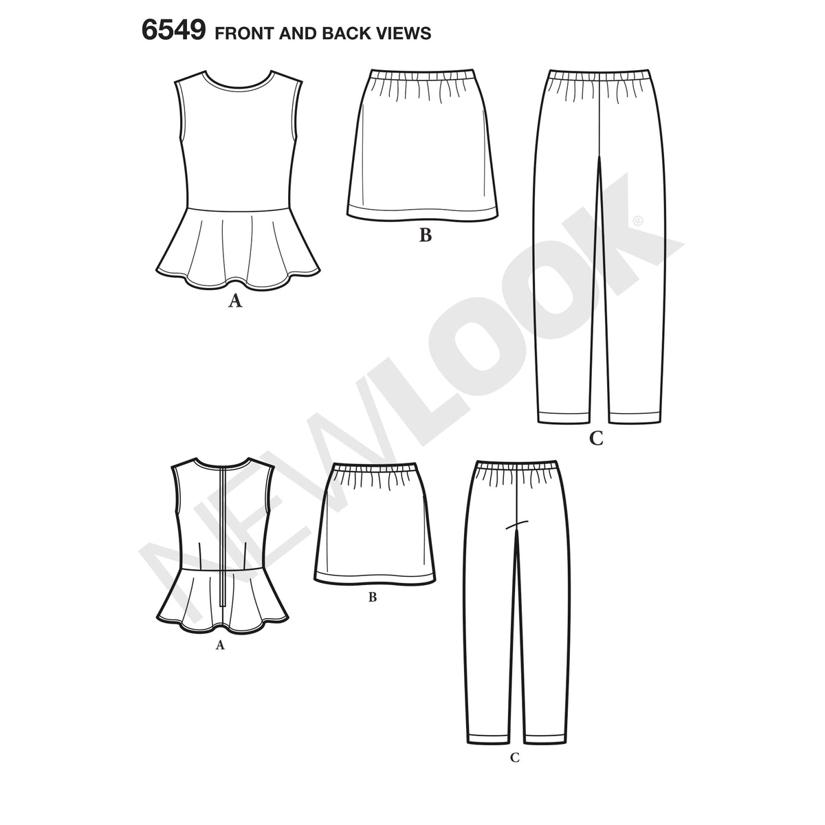 6549 New Look Pattern 6549 Girls' Top, Skirt and Pants