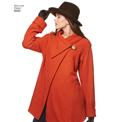 6325 Misses' Easy Coat with Length and Front Variations, and Vest