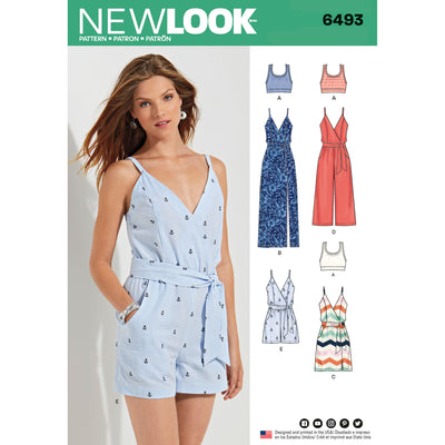 6493 New Look Pattern 6493 Misses' Jumpsuit and Dress in Two Lengths with Bralette