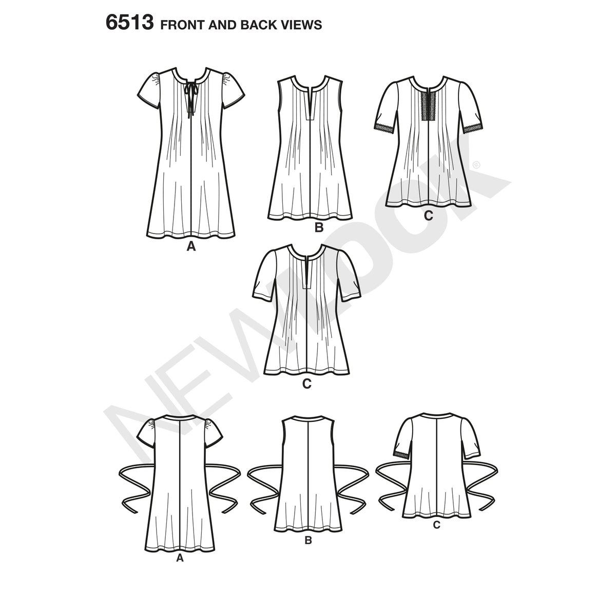 6513 New Look Pattern 6513 Women's   Dress or Top With Sleeve and Trim Variations