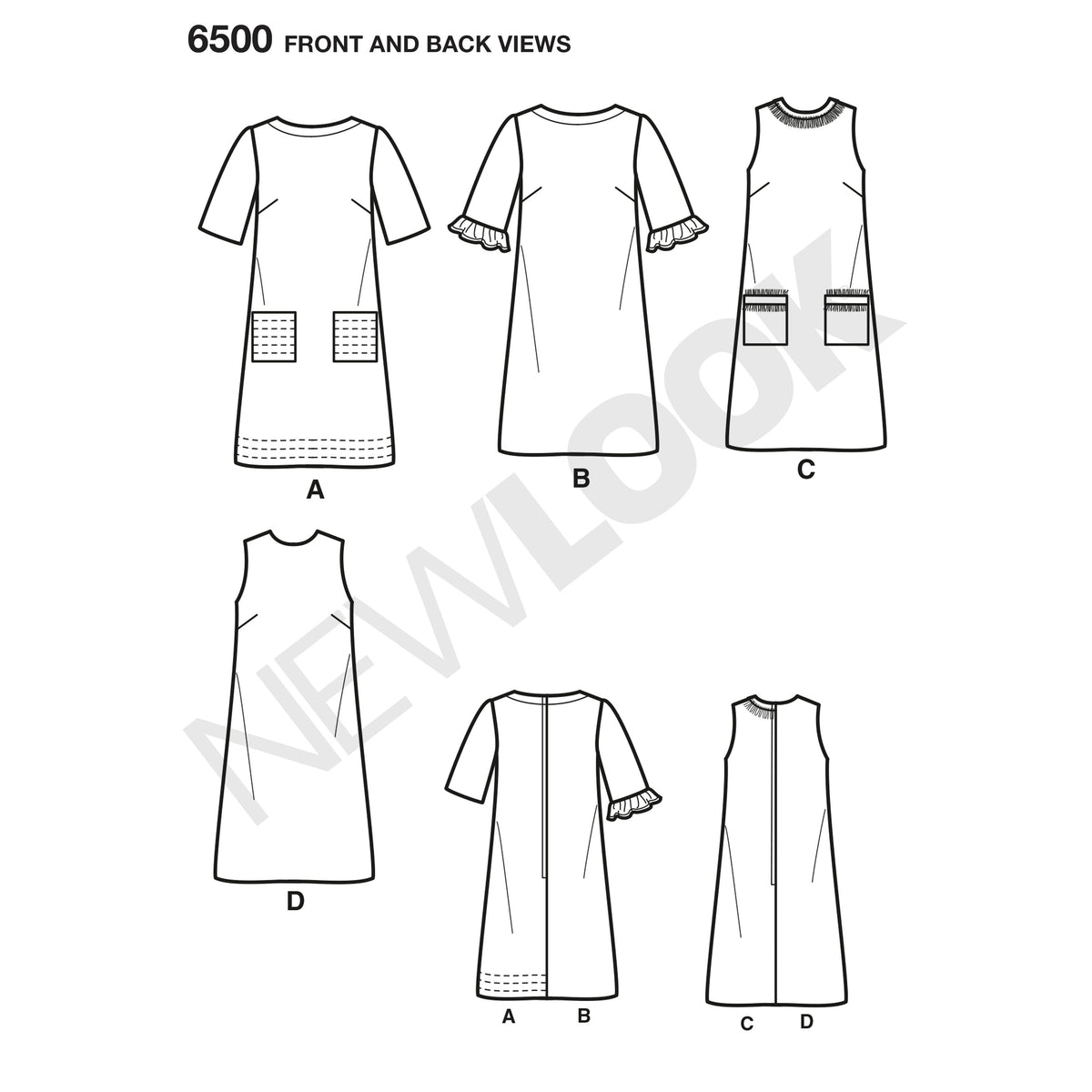 6500 New Look Pattern 6500 Misses Dress with Neckline, Sleeve, and Pocket Variations