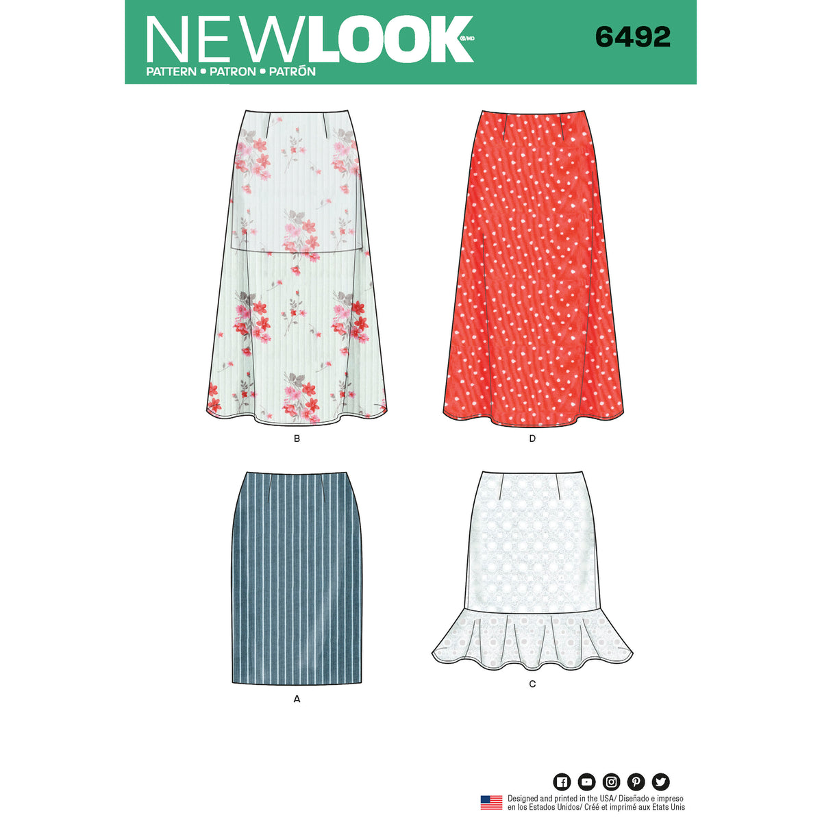 6492 New Look Pattern 6492 Misses' Skirts with Length Variations