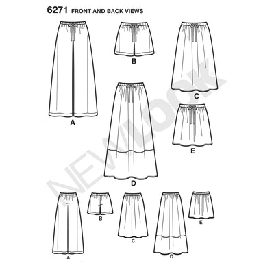 6271 Misses' Skirt in Three Lengths and Pants or Shorts