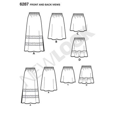 6287 Misses' Pull on Skirt in Four Lengths
