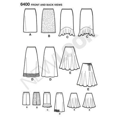 6400 Misses' Skirts in Various Styles