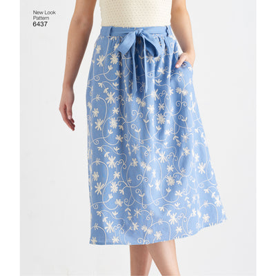 6437 Misses' Skirt in Two Lengths with Fabric Variations