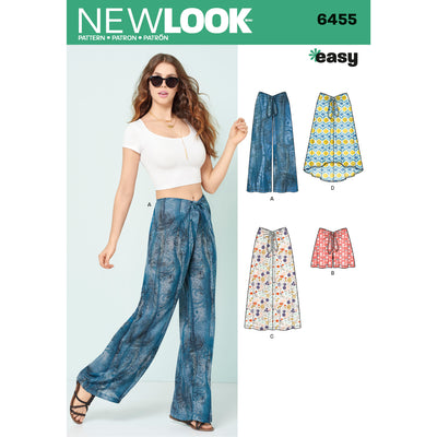 6455 Misses' Tie Front Pants, Shorts and Skirts