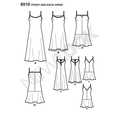 6510 New Look Pattern 6510 Women's   Slip Dresses with Length and Back Variations