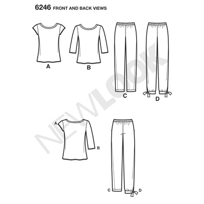 6246 Misses' Tapered Ankle Pant and Knit Top