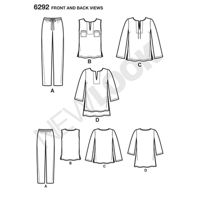 6292 Misses' Tunic or Top and Pull-on Pants