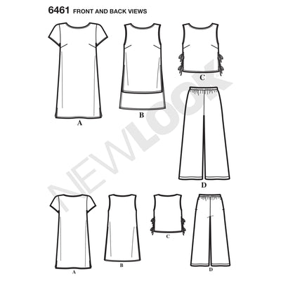 6461 Misses' Dress, Tunic, Top and Cropped Pants