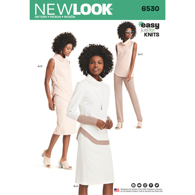 6530 New Look Pattern 6530 Women's Knit trousers, Skirt and Tunic