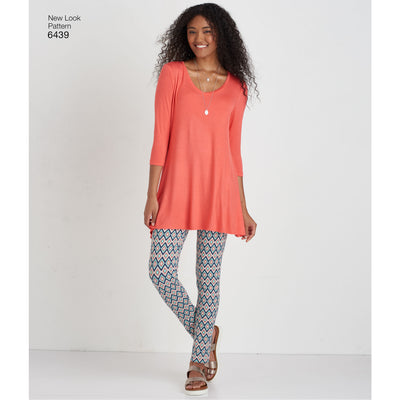6439 Misses' Knit Tunics with Leggings