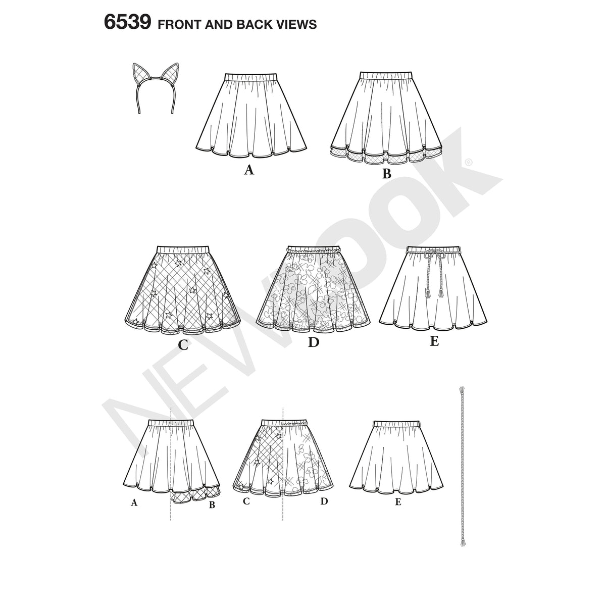 6539 New Look Pattern 6539 Tween Skirts with Ears Headband