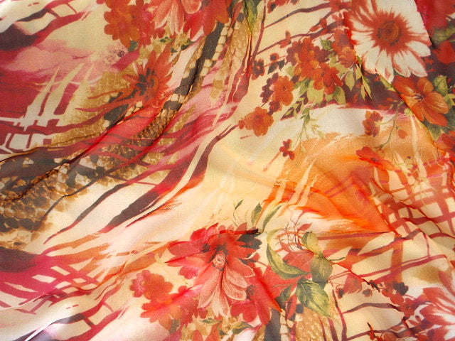Orange and Fuchsia Floral Silk Printed Chiffon