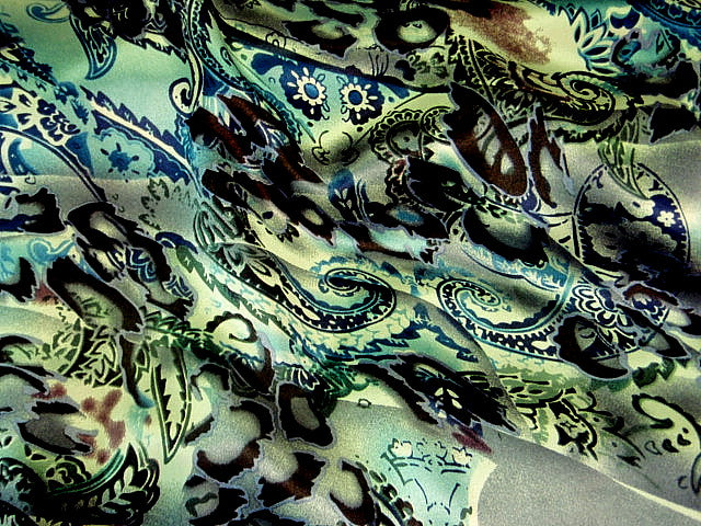 Teal Grey Paisley Silk Printed Satin