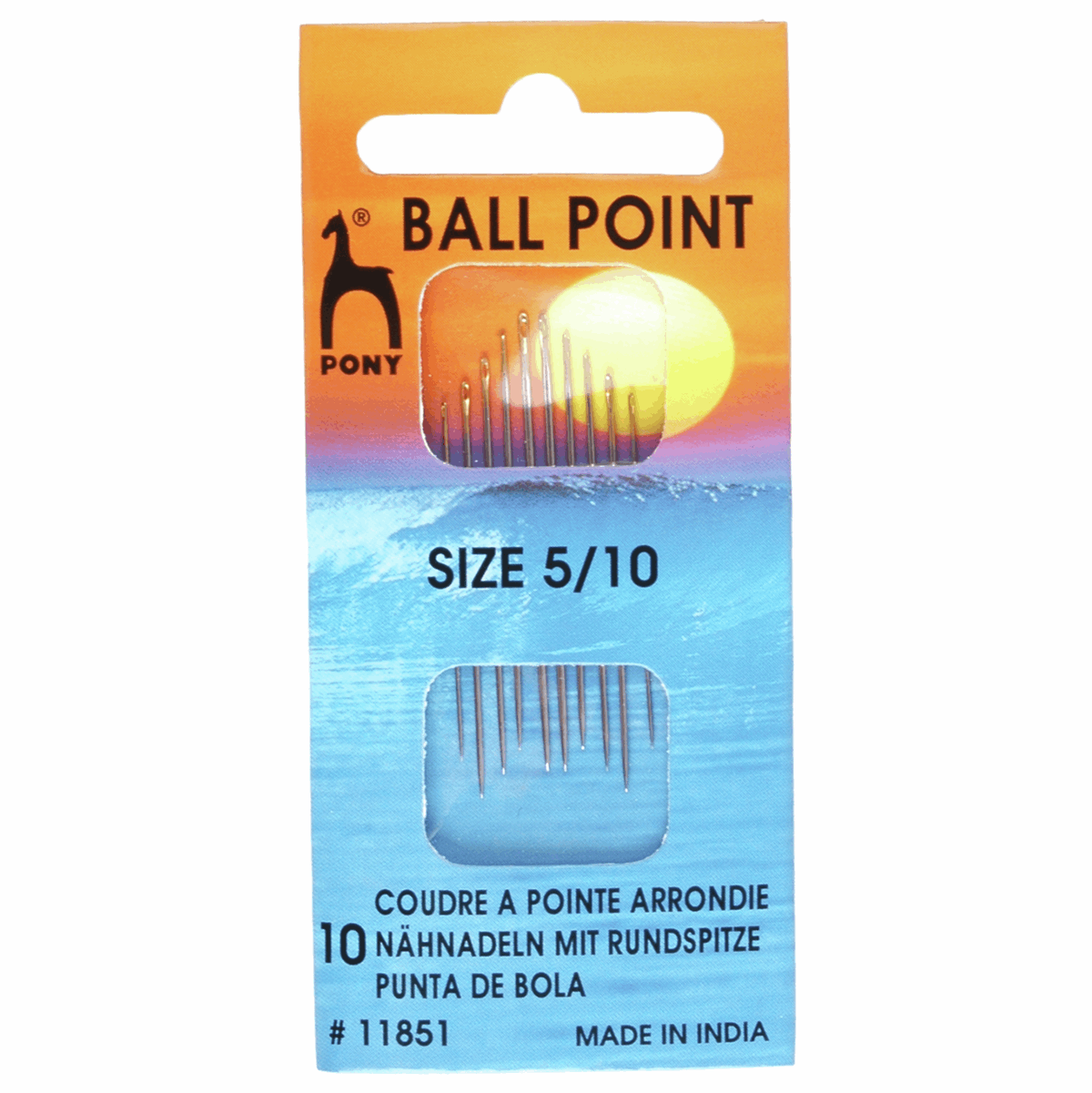 Hand Sewing Needles: BALLPOINT - Gold Eye: Size 5-10  (Stretch Fabrics)