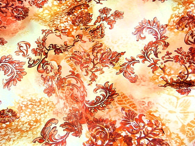 Burned Orange Floral Creeper Silk Printed Satin