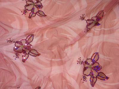 Floral Motif - Printed Sequin Tulle